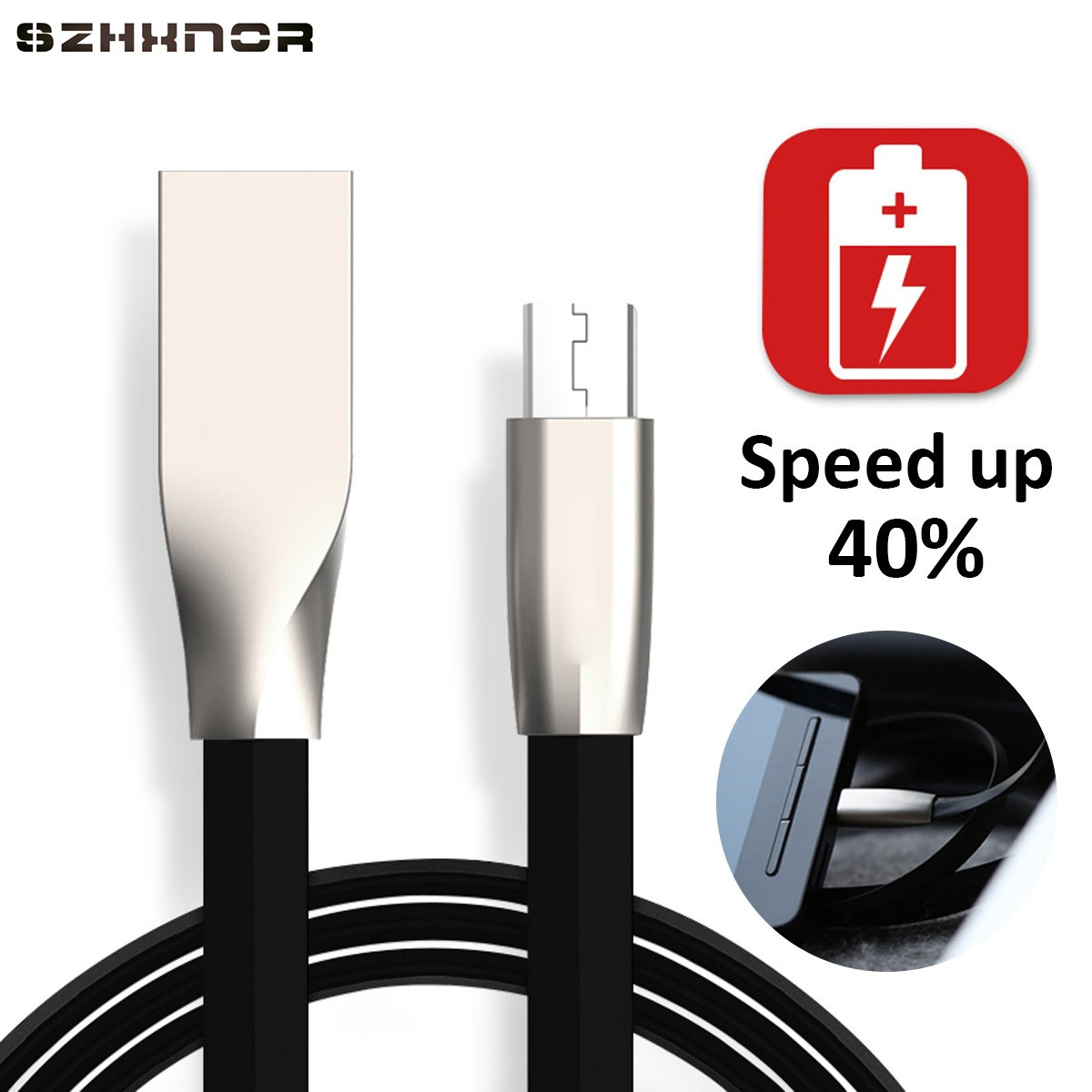 Szhxnor 3d Zinc Alloy Fast Charging Micro Usb 8 Pin Data