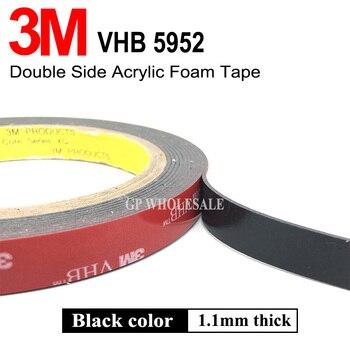 3 metros/rollo, (5mm ~ 10mm ~ 100mm) elegir, 3M 5952 VHB cinta de montaje de espuma negra adhesiva de doble cara material decorativo trim Bond
