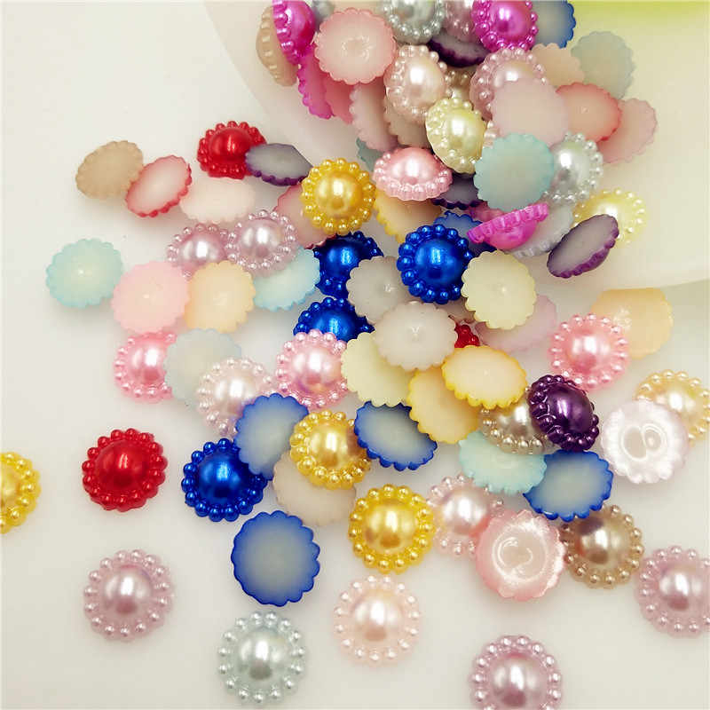 12mm Hot Sale 50Pcs Multi Colors Imitation Pearls Half Round Flatback Flower Beads For DIY Jewelry Craft Scrapbook Decoration