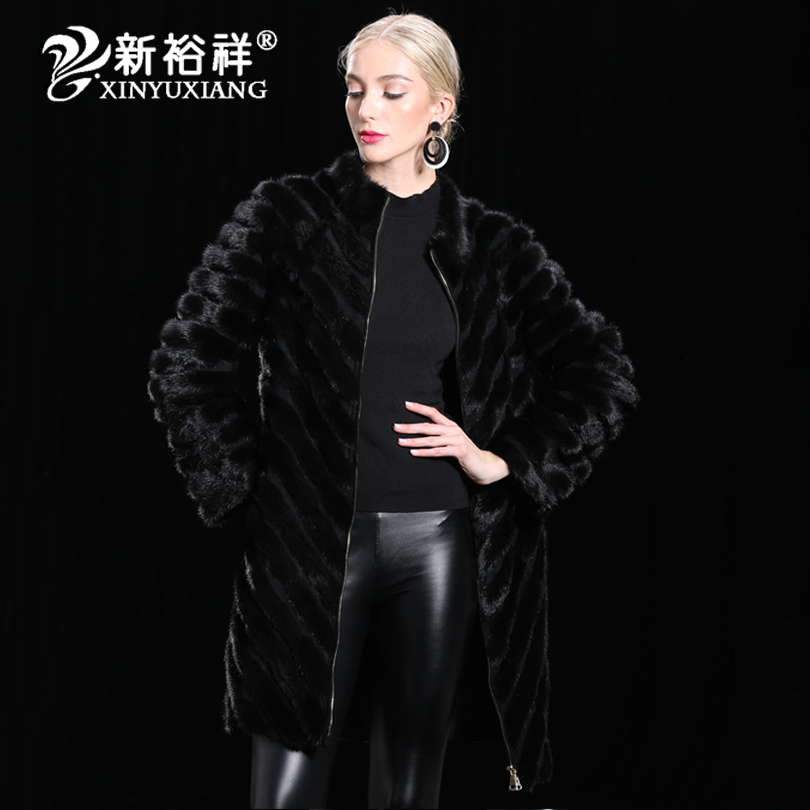 100 Chine D'hiver De Naturel Veste Chaud Outwear Véritable En Pour Réel Manteau Longue Noir Cuir Vêtements Fourrure Femmes Black Vison rqwrOI