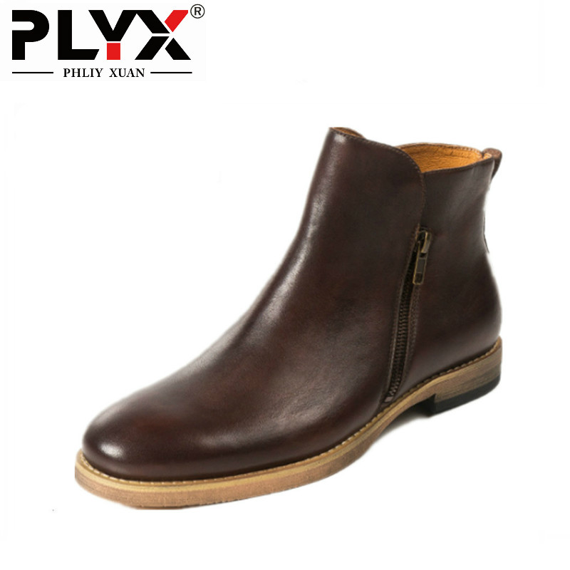 PHLIY XUAN New 2018 Retro Men Winter Boots Genuine Leather Cowhide 100% Handmade Chelsea Boots With Zipper