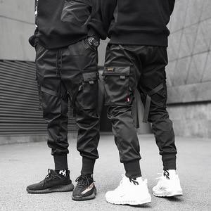 Image 5 - Hip Hop Black Pencil Pants Men Cargo Pants Streetwear Men Pockets Harem Joggers 2019 Spring Fashion Mens Pant Ribbon HD070