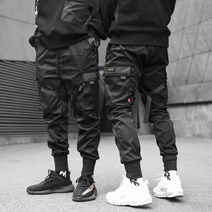 Image 5 - Pantalones lápiz negros de Hip Hop para hombre, ropa de calle, bombachos con bolsillos, para correr, a la moda, para Primavera, 2019, cinta HD070