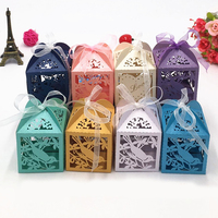50pcs Laser Cut Hollow Heart Bird Wedding Favors Box Gifts Candy Boxes With Ribbon Baby Shower