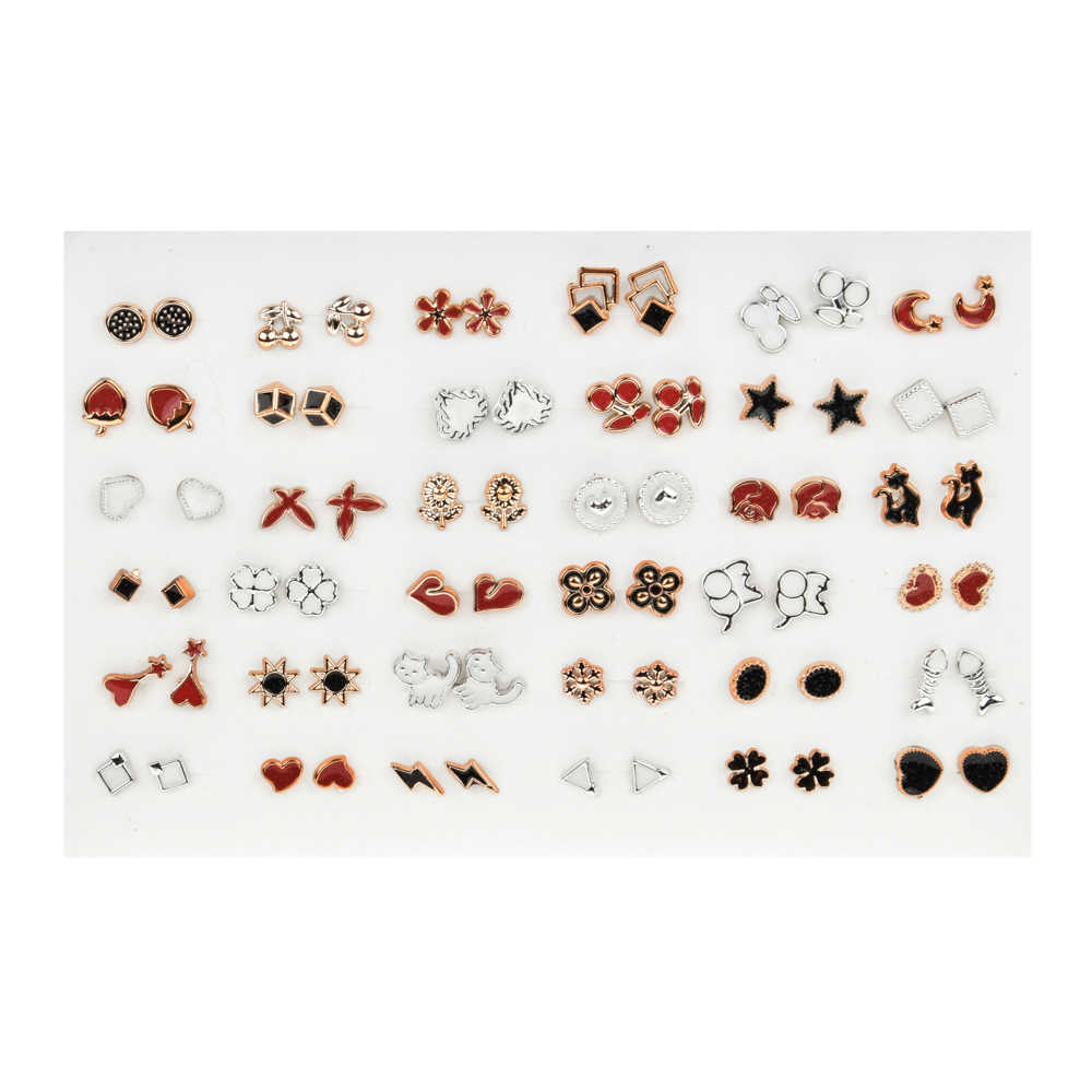 36 pairs/set Acrylic Enamel Flower Animal Small Stud Earrings Sets For Women Girls Child Earring Fashion Jewelry Gift Mix Style