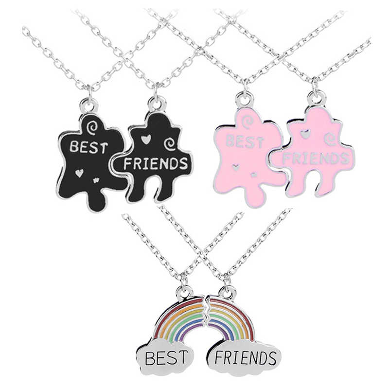 d3ae25f31a0abb Detail Feedback Questions about Trendy Best Friends Pendant Necklace  Rainbow Broken Heart Necklace For Women Silver Chain BFF Friendship Jewelry  on ...