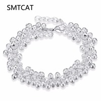 SMTCAT Hot sale 925 Genuine Silver Color Bracelet 19cm Scrub grape beads Chain Charm ball Bracelet for women men Jewelry