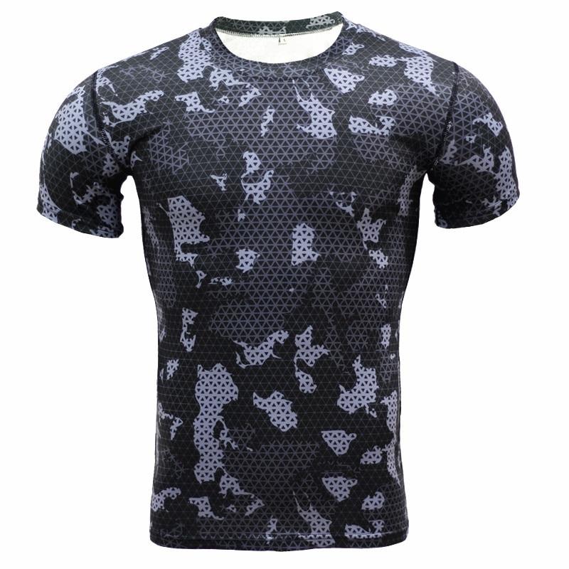 Camouflage Short Sleeve T-shirt Mens Sport Running Compression Shirt Rashgard Men Gym Fitness Tights Dry Fit Top Soccer Jerseys