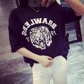 Harajuku estilo Tiger Head imprimir camiseta floja mujer nueva 2015 Summer gran tamaño básico T Shirt Camisetas Femininas