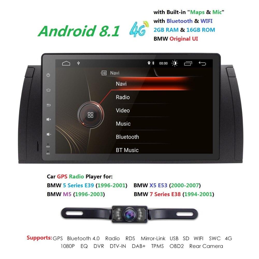 1 autoradio Din gps Android 8.1 lecteur multimédia pour BMW X5 E39 E53 E38 M5 1994-2007 5 séries GPS Navigation tête unité BT Wifi