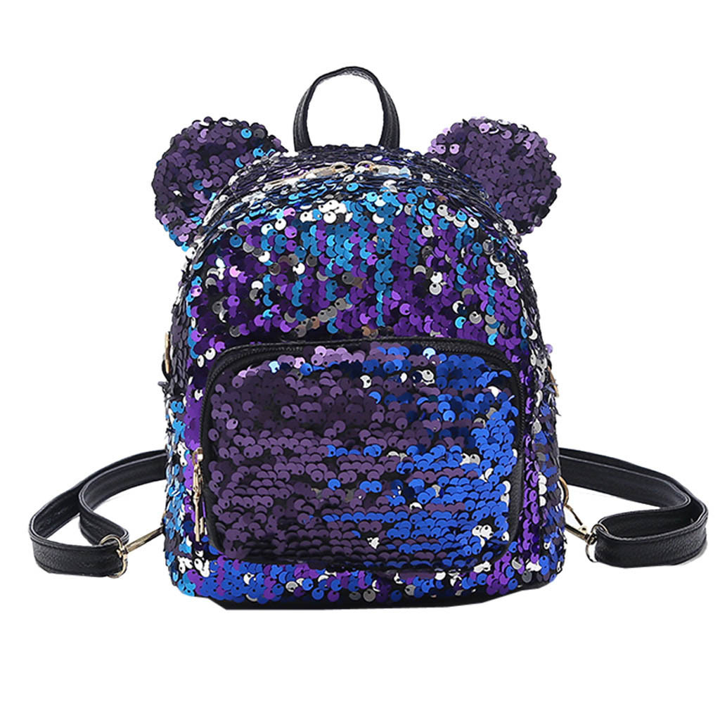 Shining Women's Sequins School Backpack Mouse Cute Satchel Girls Student Teenage Travel Party Mini Shoulder Bag Mochila Feminin