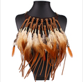 2016 New Arrival  Long Brown Black Feather Tassels  Necklace Choker Fashion Party Bohemian Women Jewelry collar Necklaces