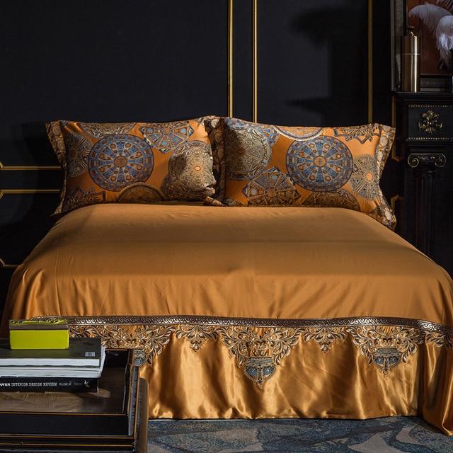 Luxury Bedding set Queen King size Golden Silver Satin Cotton Bed set Doona Duvet cover Bed sheet set juego de cama linge de lit 2