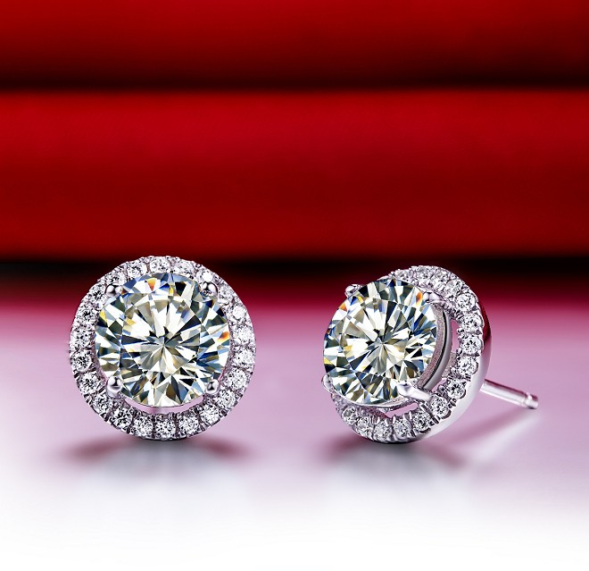 Threeman 1ct Piece Genuine Solid White Gold Earrings Synthetic Diamonds Engagement Stud Woman Wedding Jewelry In From