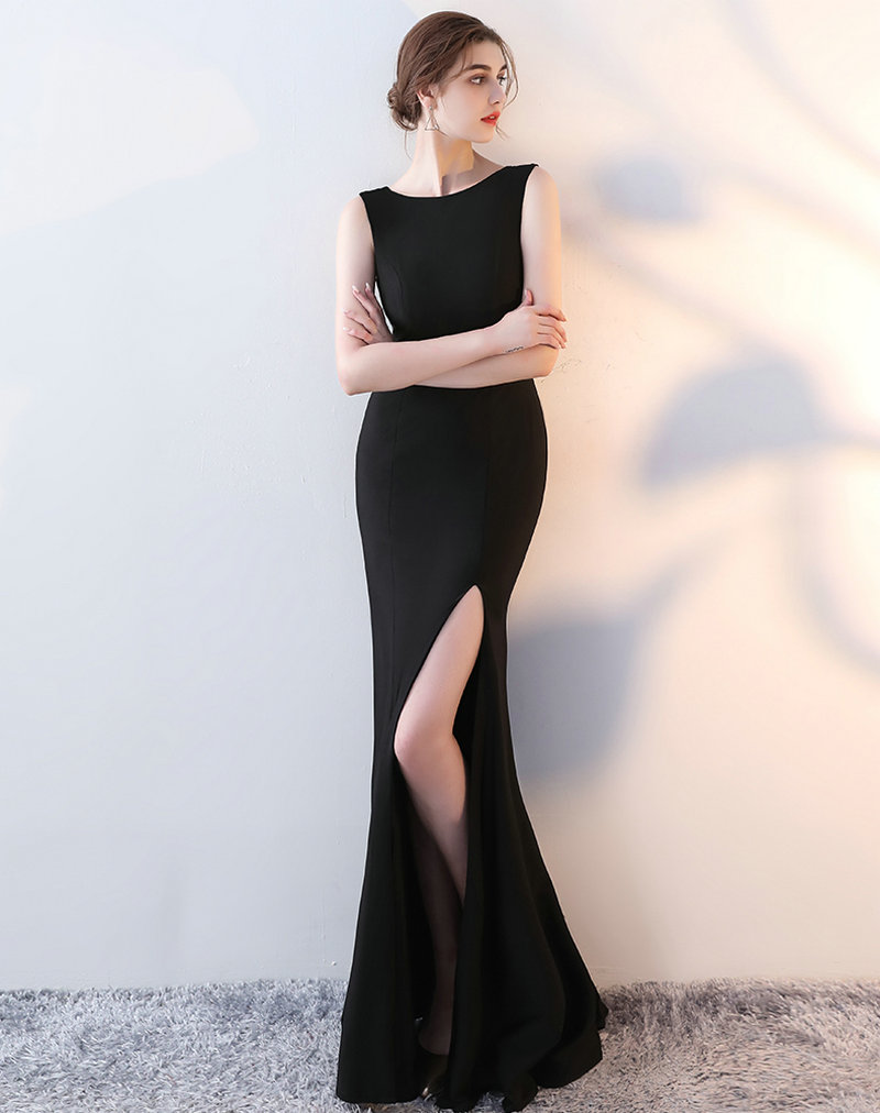 0071a726071b Glamorous Black Mermaid Formal Dresses Long 2018 New Sexy Elastic Satin  Evening Dress Scoop Custom Made Lady Evening Party Gowns