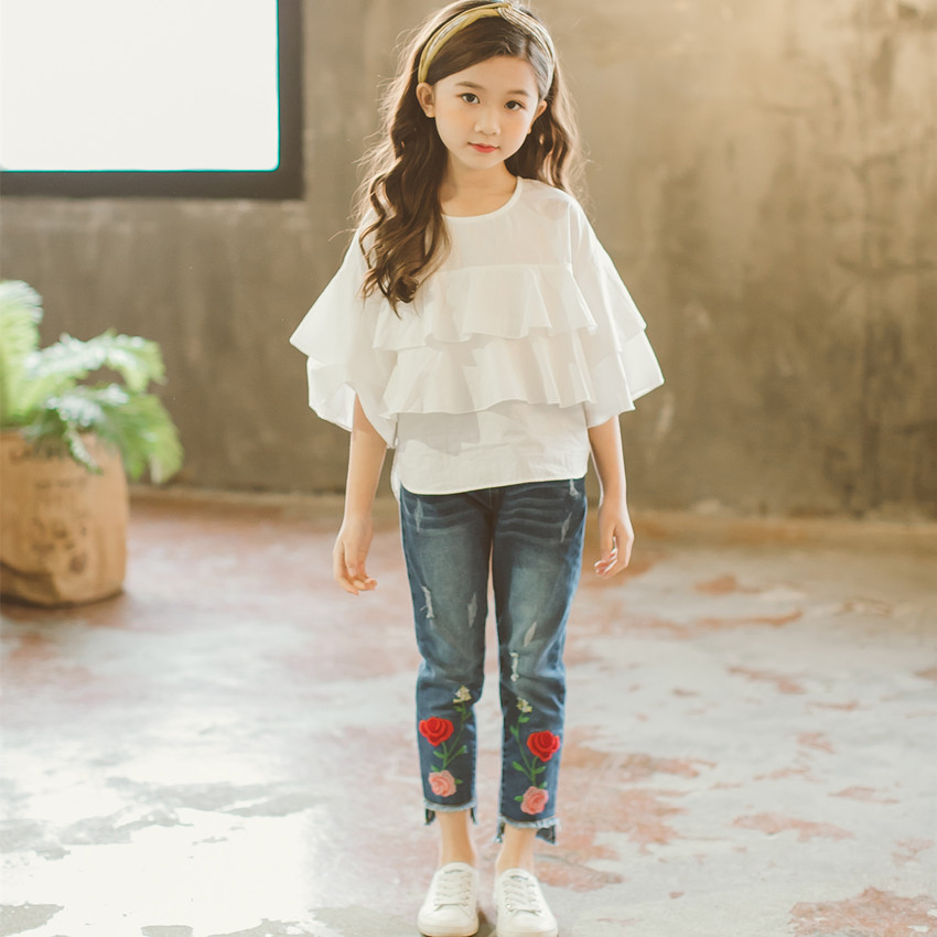 2018 Girls Clothing Sets Casual Kids Suits For Girl Children Tracksuits 4-12y Costume Summer Clothes Blouses + Embroidered Jeans teenage girls clothes sets camouflage kids suit fashion costume boys clothing set tracksuits for girl 6 12 years coat pants