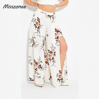 Misszonee Sexy Side Split Wide Leg Pants Women Boho Summer Beach Long Pants Elastic High Waist
