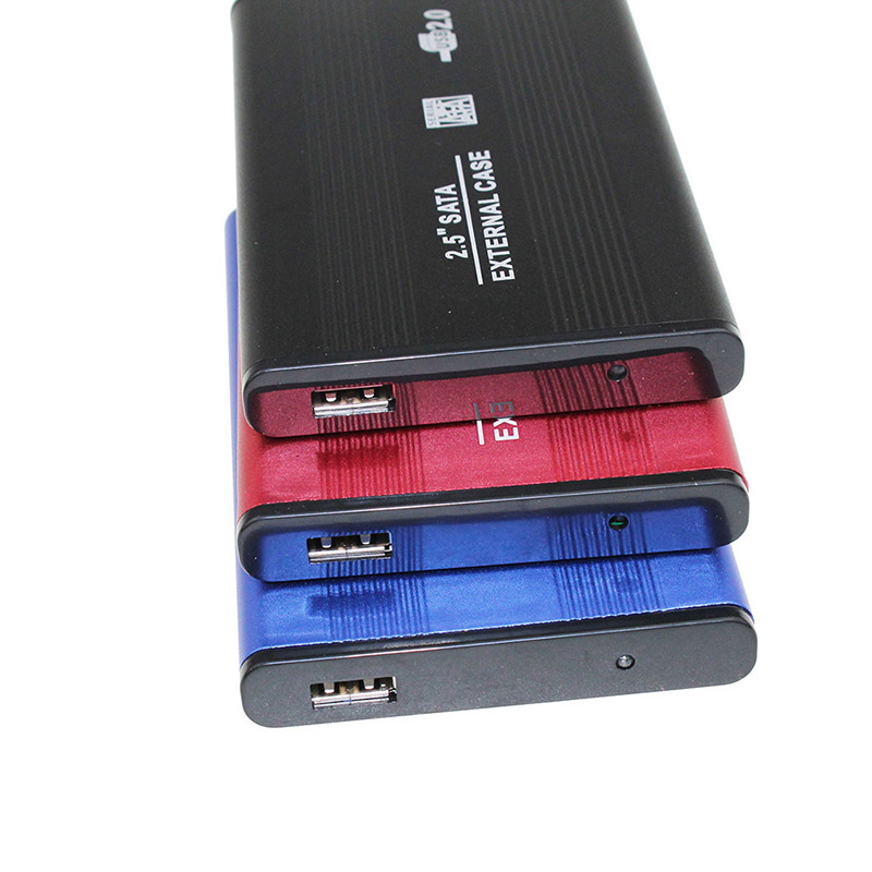 Hot Selling <font><b>2.5</b></font> Inch HDD Externo <font><b>Enclosure</b></font> Case Metal External Storage Box For <font><b>Sata</b></font> To USB 2.0 Hard Drive Disk With USB Cable image