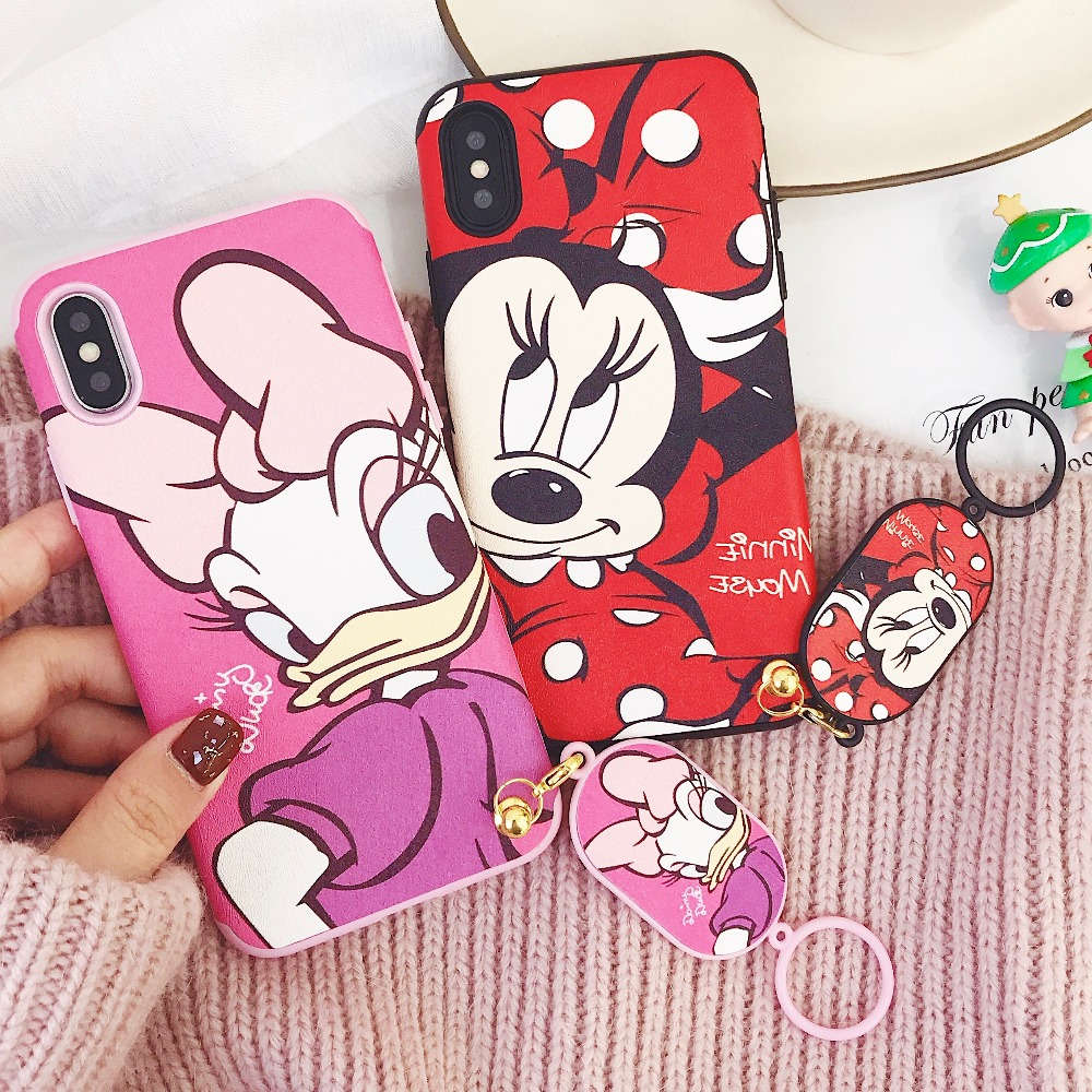 For iPhone X Daisy Duck Mickey Minnie Mouse Ring Strap Matte Soft TPU Case For iPhone 8 6 6S 7 Plus