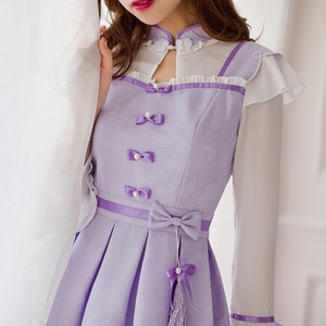 Image 3 - Princess sweet lolita purple dress Candy rain Chinese style Stand collar Bow decoration Pleated  A Chinese design C16CD6135