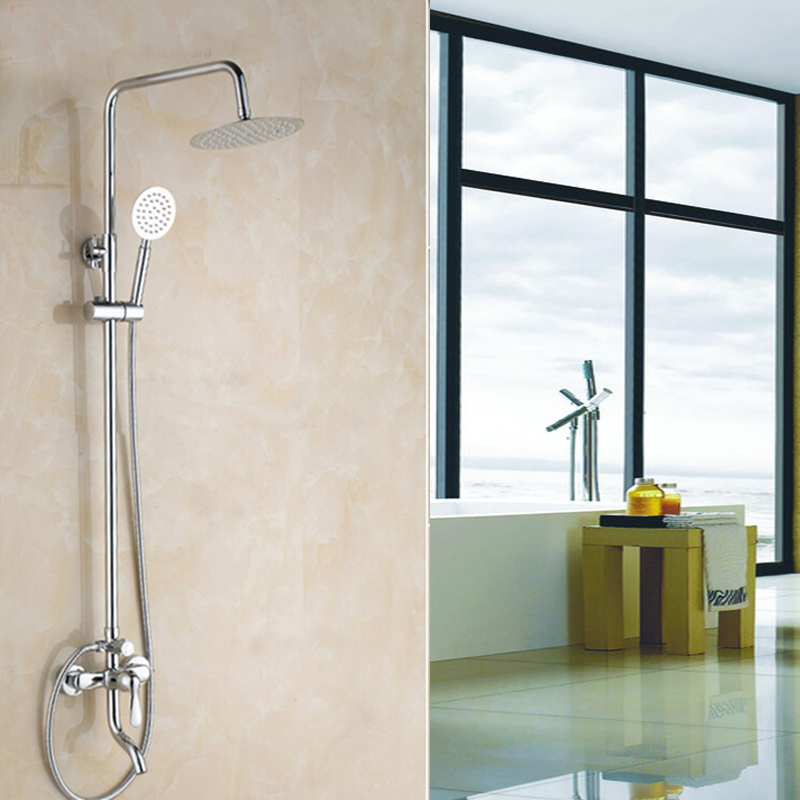 Elegant Chrome Rain Shower Head Faucet Tub Spout Valve Mixer Tap Wall Mounted Be the fir ...