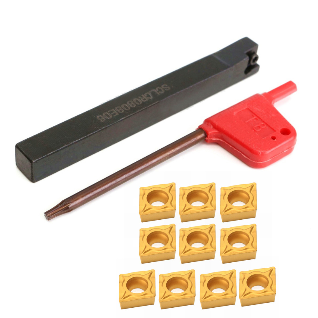 10pcs CCMT060204-HM Carbide Inserts + 1pc SCLCR0808F06 Lathe Turning Tool Holder 80mm Boring Bar with Wrench solid carbide c12q sclcr09 180mm hot sale sclcr lathe turning holder boring bar insert for semi finishing