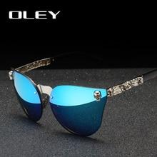 OLEY หรูหราแบรนด์แฟชั่นผู้หญิง Gothic แว่นตา Skull กรอบโลหะ Oculos de sol พร้อมอุปกรณ์เสริม Y7001