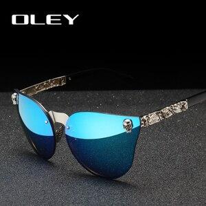 Женские зеркальные очки OLEY, зеркальные очки в готическом стиле с металлической оправой в виде черепа, Y7001, 2019