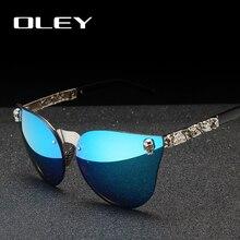 OLEY luksusowa marka moda kobiety gotyckie lustro okulary czaszka rama metalowa świątynia óculos de sol z akcesoriami Y7001