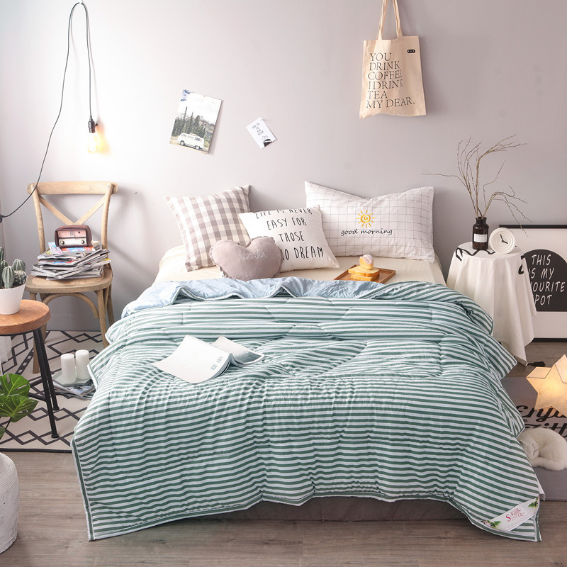 Perfect Green White Stripe Summer Quilt For Adults Single Double Bed Polyester  Cotton Bed Coverlet (Quilt Only) XF351 7 In Quilts From Home U0026 Garden On ...