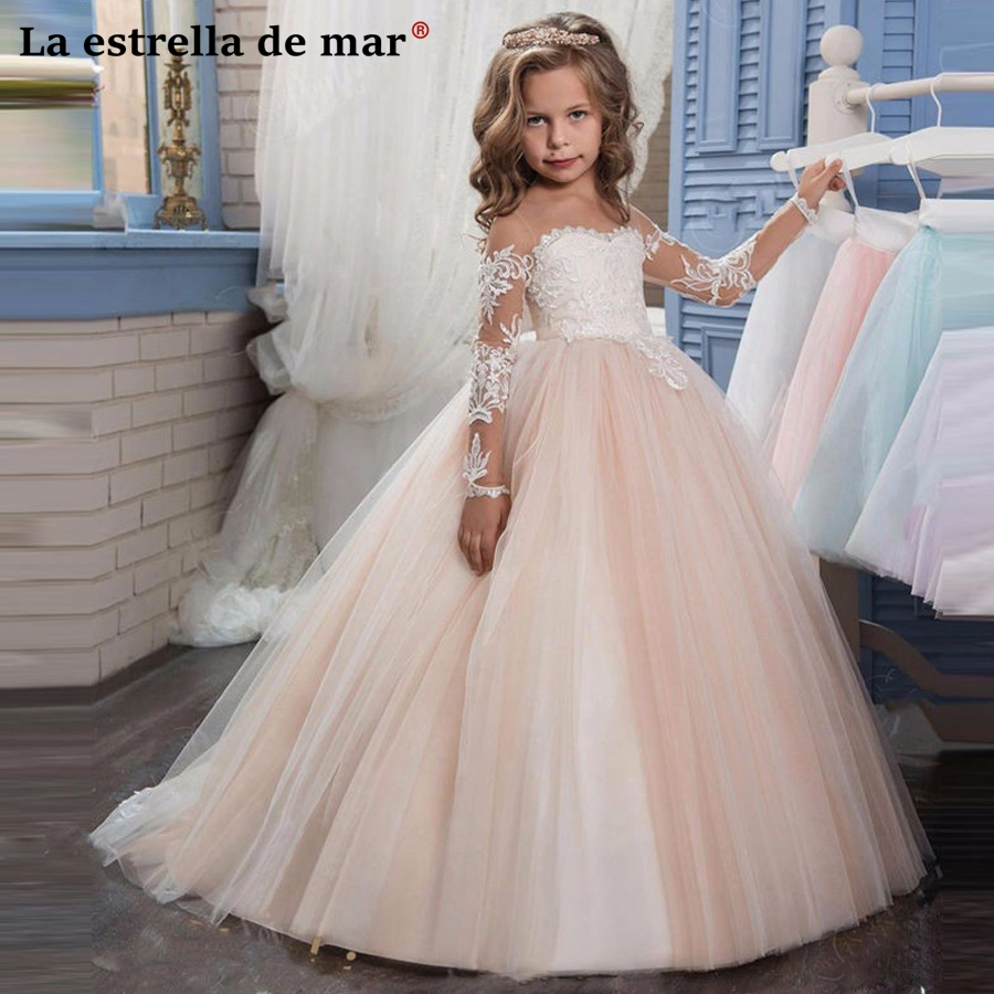 Vestidos Primera Comunion2018 New Lace Long Sleeve Fluffy Champagne Flower Girl Dress Long Pretty Communion Dresses