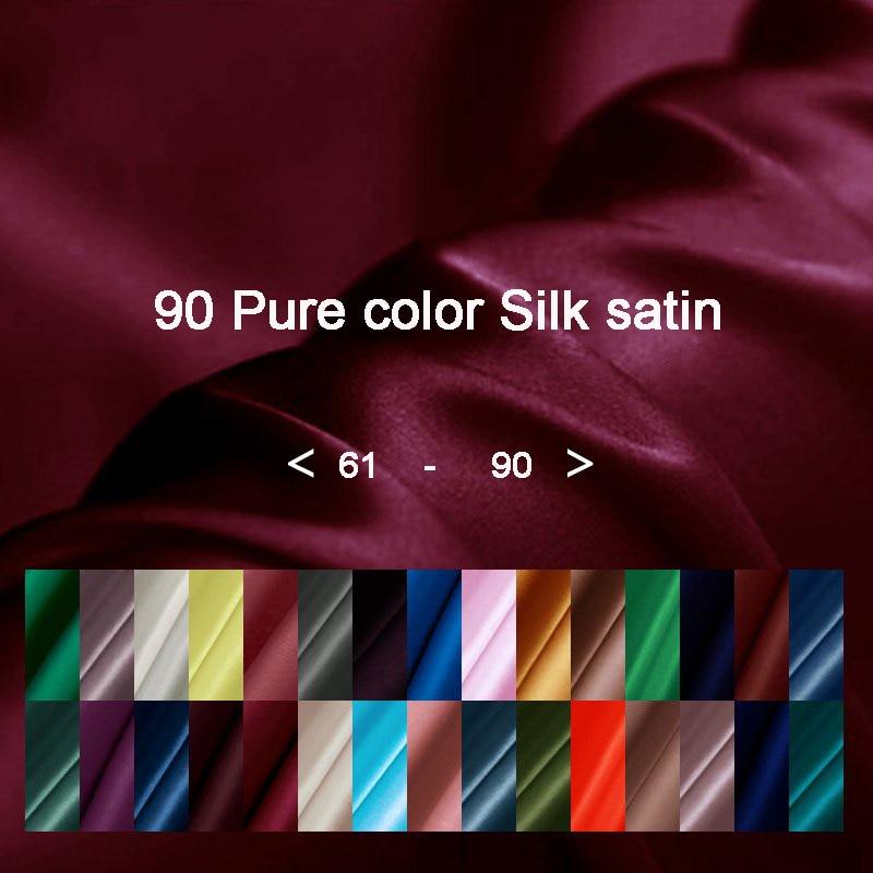 90 Pure color Silk Satin Charmeuse Fabric For Women Dress Cheongsam shirt Width 114cm Clothing cloth Diy Sewing 2018 HOT NEW
