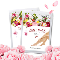 efero 2Pack Rose Serum Extract Foot Mask Moisturizing Feet Spa Dead Skin Cuticle Remove Peeling Exfoliating Whitening Feet Mask Skin Care