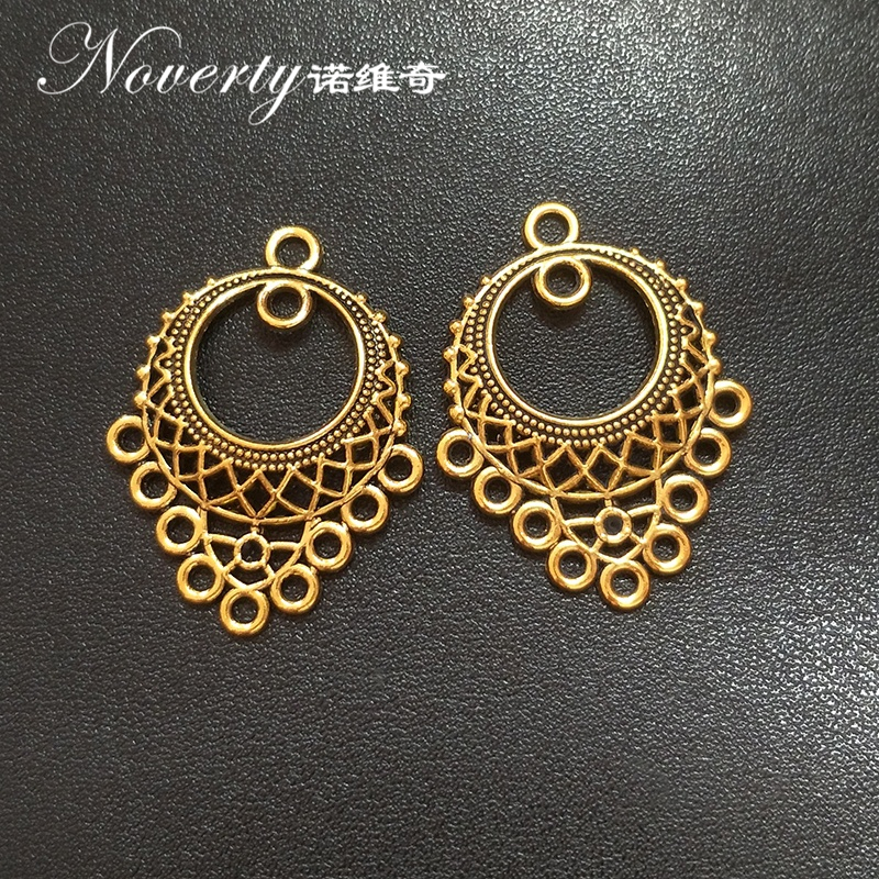 New 10pcs Hollow Out Zinc Alloy Gold Earrings Porous Connector Charms Pendant Linker for DIY Jewelry Accessories iwhd american vintage hanging lights edison style loft industrial pendant light fixtures retro glass hanglamp luminaire lamparas