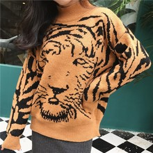 2018 Runway women Turtleneck Sweater Pull Jumpers Casual Knitted Tigers  Sweaters Pull Femme Harajuku Streetwear Winter 235bfba33