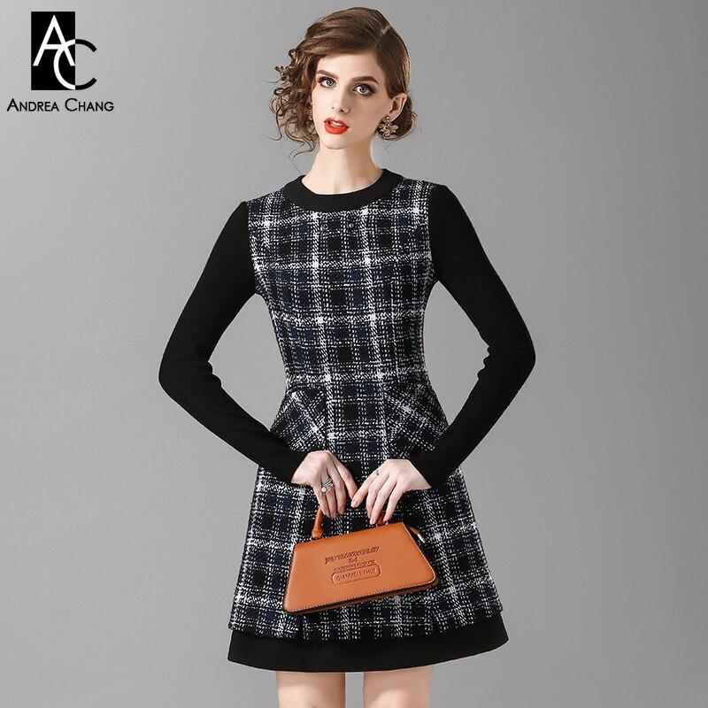 spring autumn woman dress black sleeve black white plaid pattern dress with  pockets fashion sweet office e365a97b1e75