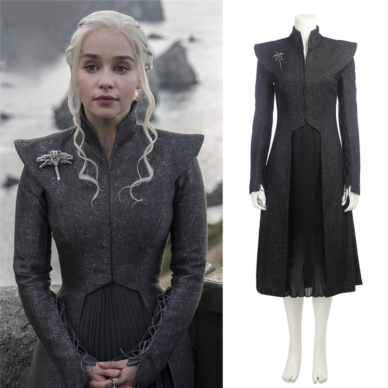 Game of Thrones Season 7 Daenerys Targaryen Cosplay Costume Women Girl Coat+Skirt+Chain+Cloak+Brooch Dress Mother Of Dragon Suit