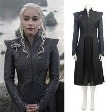 купить Game of Thrones Season 7 Daenerys Targaryen Cosplay Costume Women Girl Coat+Skirt+Chain+Cloak+Brooch Dress Mother Of Dragon Suit по цене 3138.23 рублей