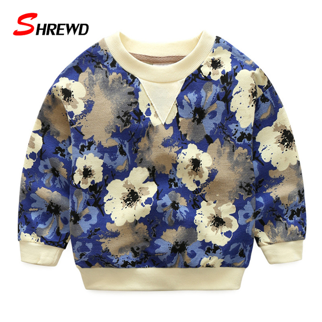T Shirt Brand Boys 2017 Spring New Fashion Flower Printing T-shirt Kids O-neck Long Sleeve Simple Kids Clothes Boys 4833W