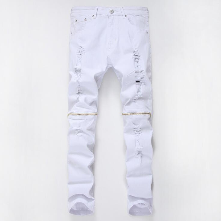 #2721 2016 Mens skinny jeans Fashion Famous brand men Hip hop jeans Distressed White jeans men Slim fit Mens designer clothes