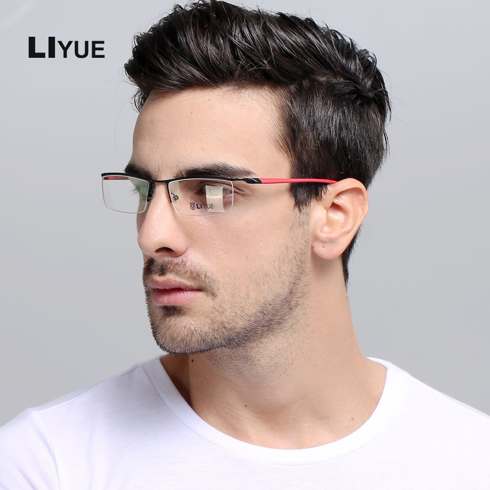 LIYUE Brýle na dioptrické brýle vysoké kvality Pánské dioptrické brýle na dioptrické brýle Nové optické brýle Metal Frame průhledné brýle