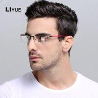 LIYUE Wysokiej jakości optyka okulary męskie okulary Korekcyjne okulary Ramki 2017 Nowy optyczny okulary Metalowa Rama clear lens okulary