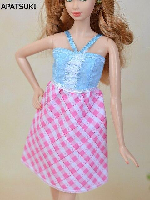Moda a cuadros de color rosa muñeca ropa a line casual vestido para ...