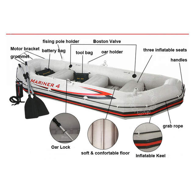 US $631 21 21% OFF|INTEX MARINER SUPER 4 person inflatable boat fishing  328*145*48cm 137cm Aluminium oards hand pump accessory A07001-in Rowing  Boats