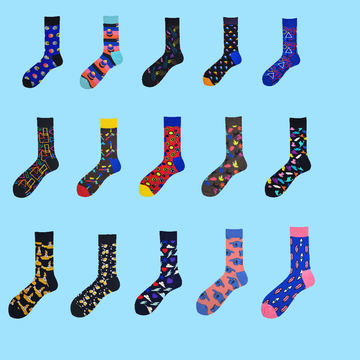 2018 Autumn Newly Winter Socks Men Fashion Hip Hop 21Colors Colorful Cotton Animal Floral Submarine Happy Socks
