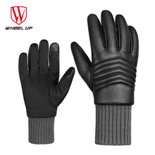 WHEEL UP Winter Thermal Cycling Gloves Windproof Screen Touch Outdoor Sports Motorcycle Bike Bicycle PU Leather Glove Men MTB