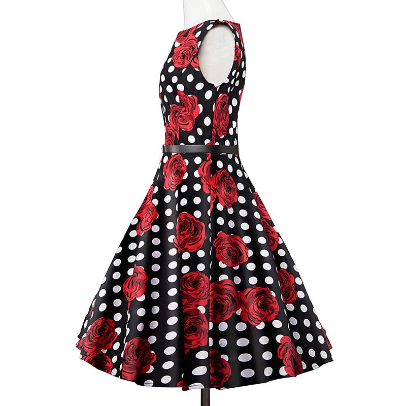 Kostlish Elegant Print Women Summer Dress Sleeveless Cotton Hepburn 50s 60s Vintage Dress With Belt Casual A-Line Ladies Dresses (41)