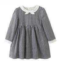 Girls Dress 2017 Autumn Style Kids Clothes For Baby Girl Plaid Princess Dresses Long Sleeve Black