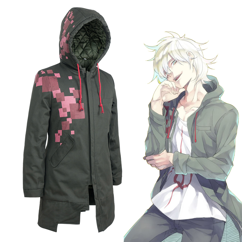 Super Danganronpa Komaeda Nagito Thicken Long Hooded Jacket Cosplay Costume Dangan Ronpa Trench Coat Casual Overcoat