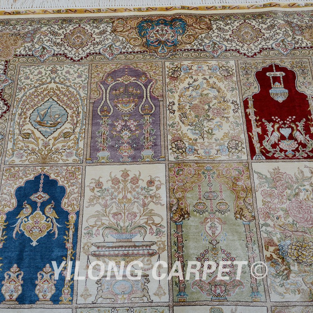 Aliexpress Yilong 4 X6 Traditional Turkish Carpet Four Season Vantage Antique Iranian Silk Rugs 0684 From Reliable Rug Price Suppliers On